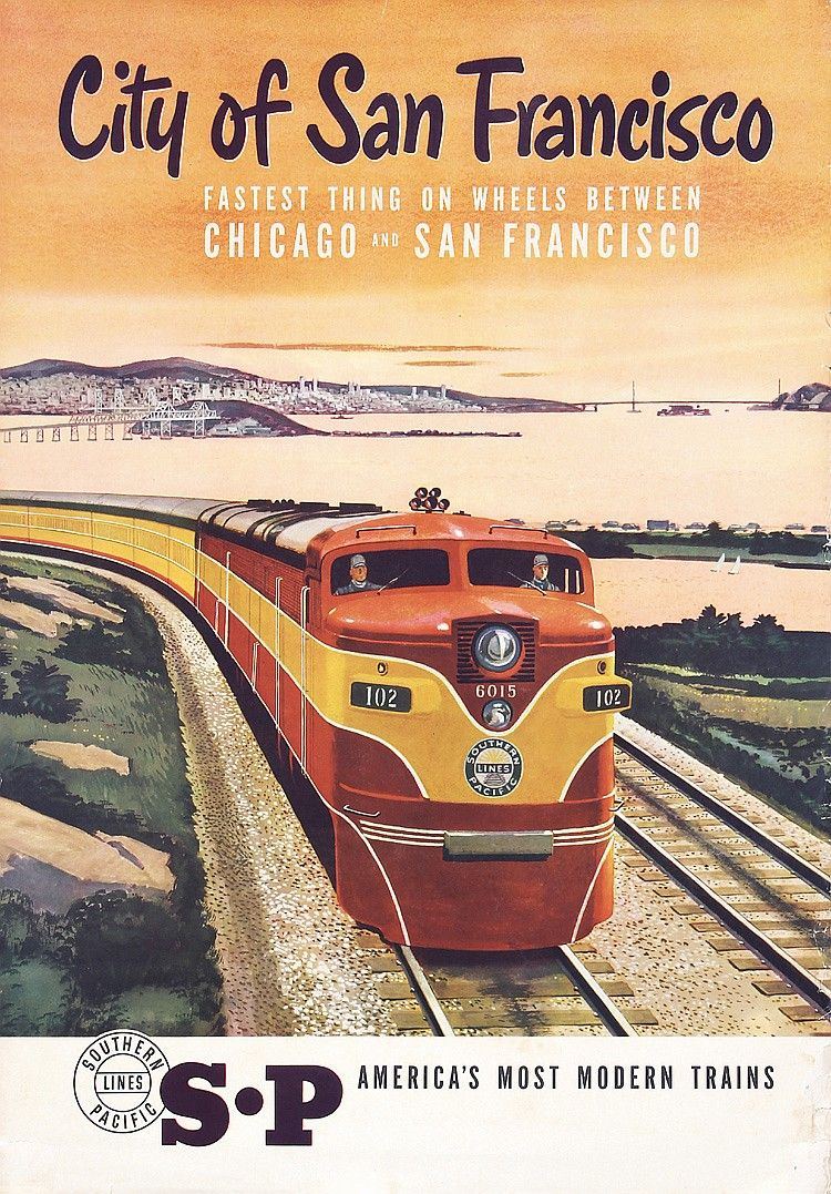 Original southern pacific san francisco travel poster for Vintage train posters