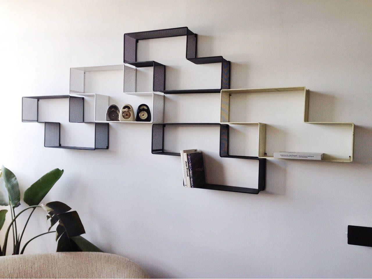 narrow and tall mid century modern chrome and glass etagere shelf