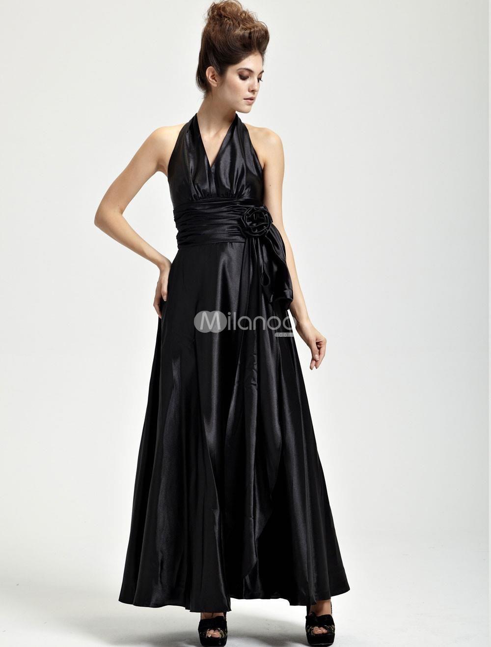 Classical black satin halter floor length womens evening dress wrap