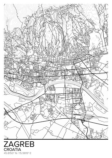 Zagreb Map Poster Print Wall Art Croatia Gift Printable Home And Nursery Modern Map Decor For Office Map Art Map Gifts Mill Map Art Map Decor Modern Map