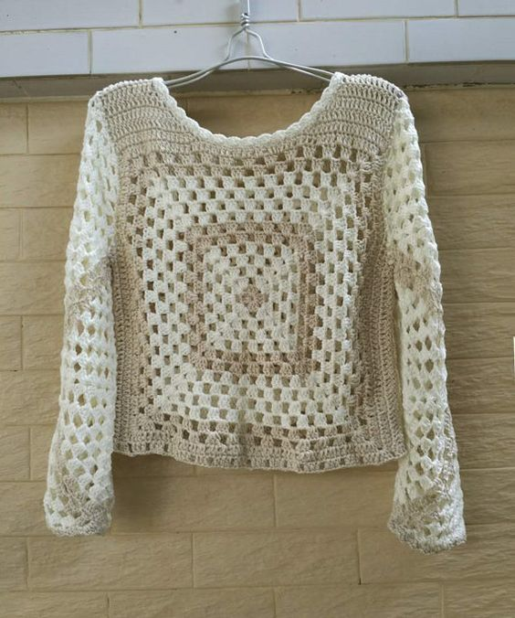 Granny Square Crochet Crop Top with Long Sleeve | Bebe | Pinterest ...