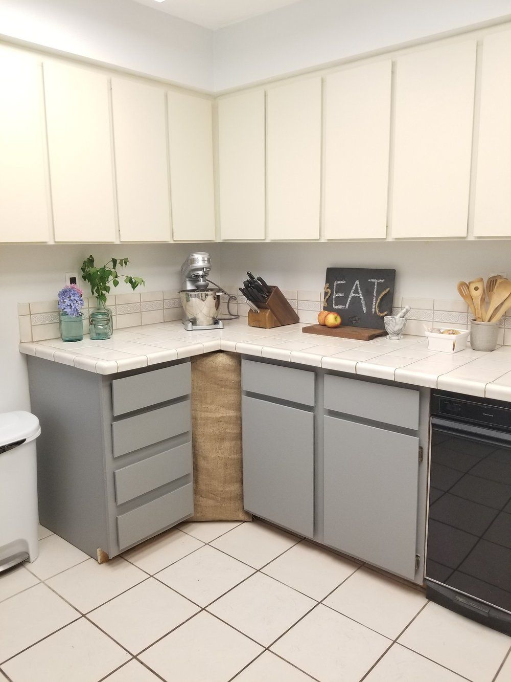 Add Peel And Stick Wallpaper On Cabinets Before And After Of Kitchen Updates On A Budget 200 Kitchen Updates Wi Rental Kitchen Home Decor Home Decor Kitchen