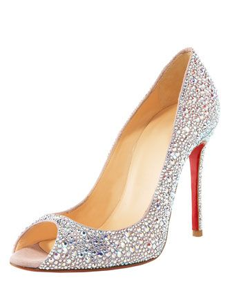 Christian #Louboutin Crystal-Encrusted Suede Pump