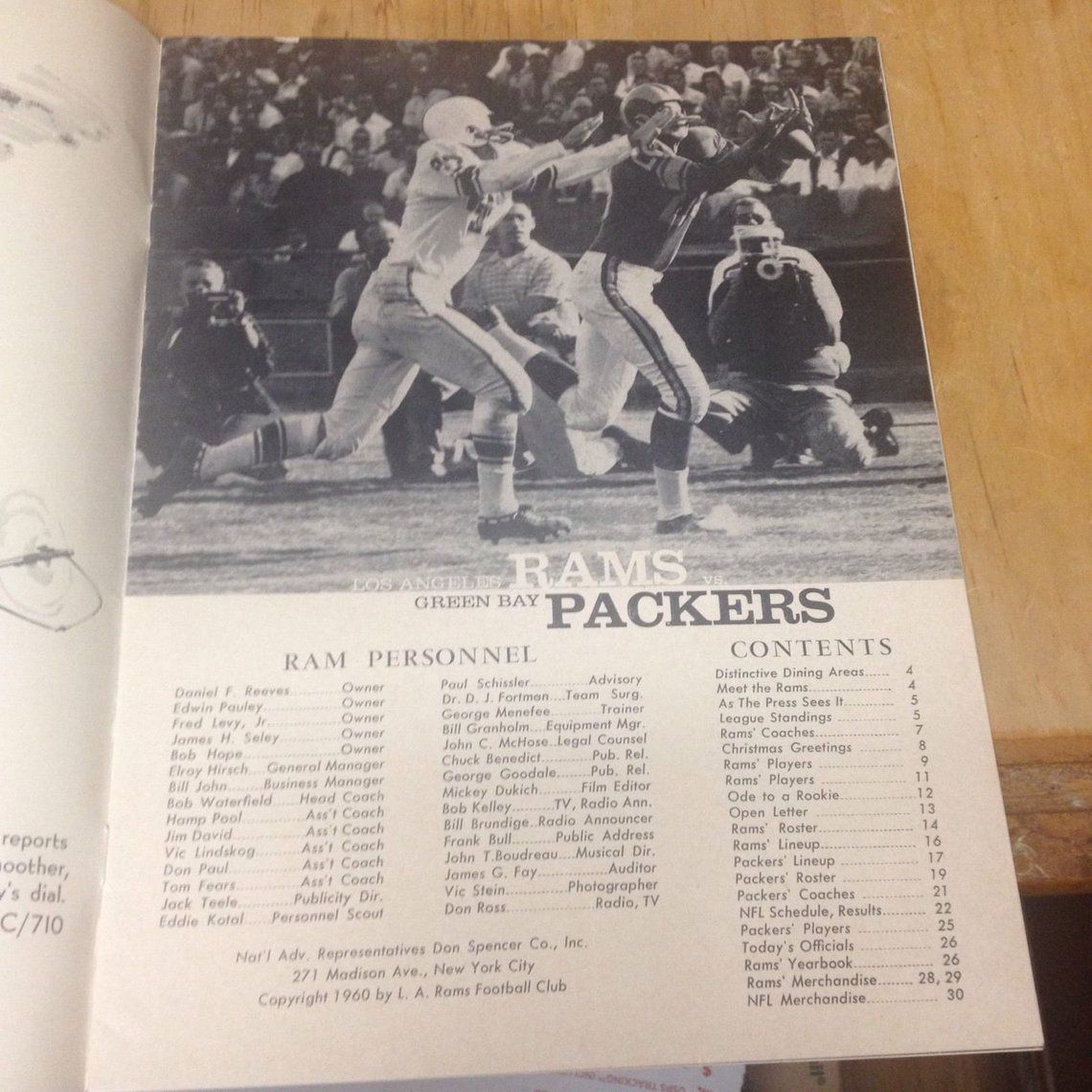 Los Angeles Rams V Green Bay Packers Football Program Dec 17 1960 Green Bay Packers Football Football Program Packers Football