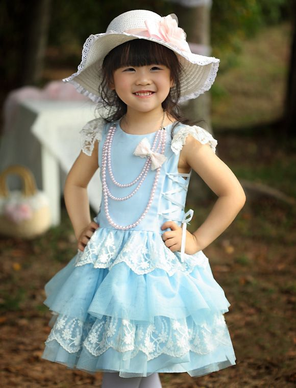SKY BLUE AND LACE GIRLS Dresses - girls lace dresses-girls tutu ...