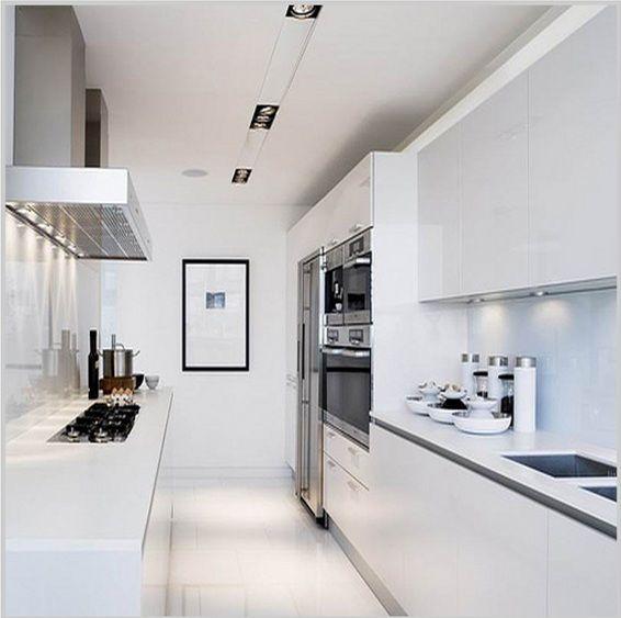 Iluminar cocina larga estrecha cocinas pinterest for Cocinas modernas blancas precios