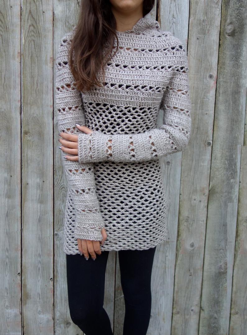 Crochet Pattern - Hooded Tunic/Long Hoodie/Ribbed Mesh Sweater/