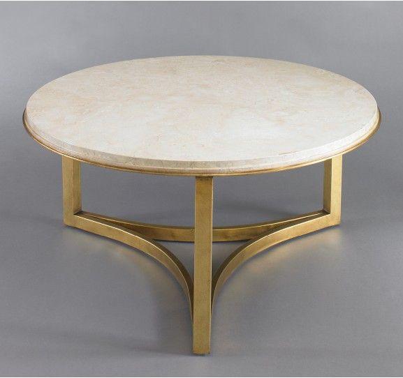 Dwell Studio - Milo Coffee Table, Travertine top and gold leaf on iron base