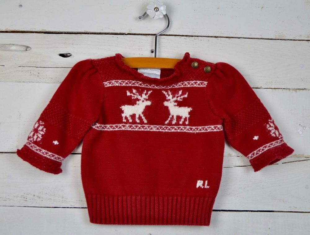 e685041eb4b9 Baby Girls RALPH LAUREN Sz 6m Red White Knit Sweater Top Nordic Deer ...