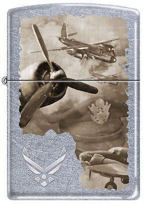 Military Wwii Vintage Aircraft Montage Chrome Zippo Lighter Vintage Aircraft Zippo Lighter Zippo Collection