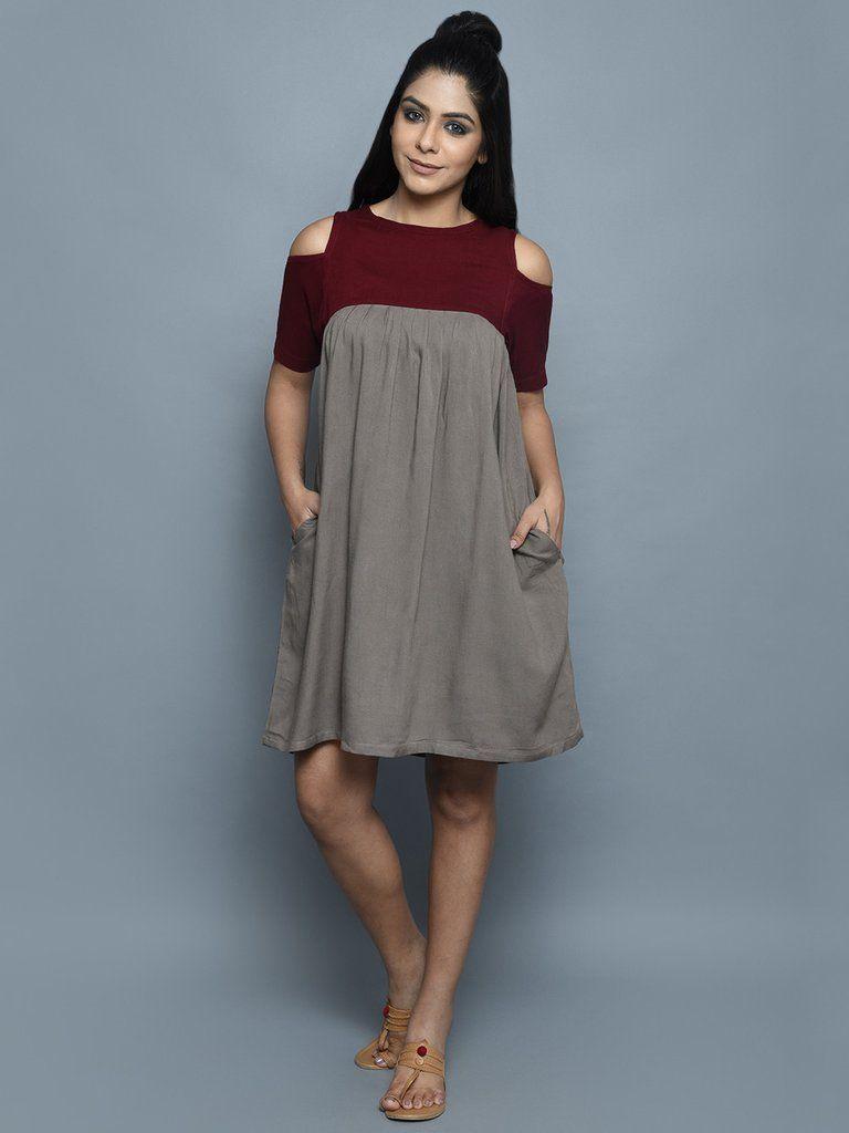 b769b476f57 Wine Grey Rayon Cold Shoulder Midi Dress