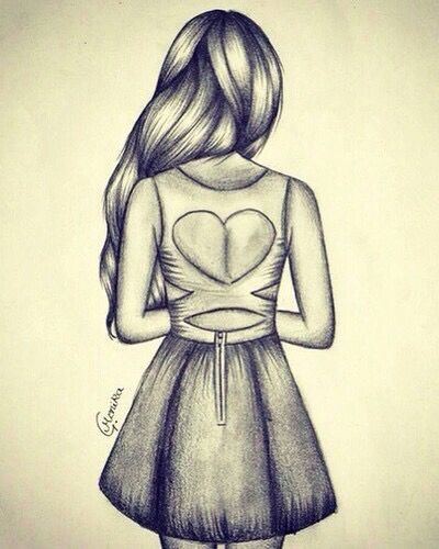 Drawing Of A Girl With An Open Back Dress In Pencil Pencil Art