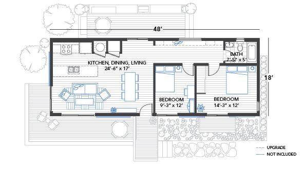 Blu Homes Origin Floorplan 2 Bedrooms 48 Feet Tiny House Floor Plans House Floor Plans Small House Plans