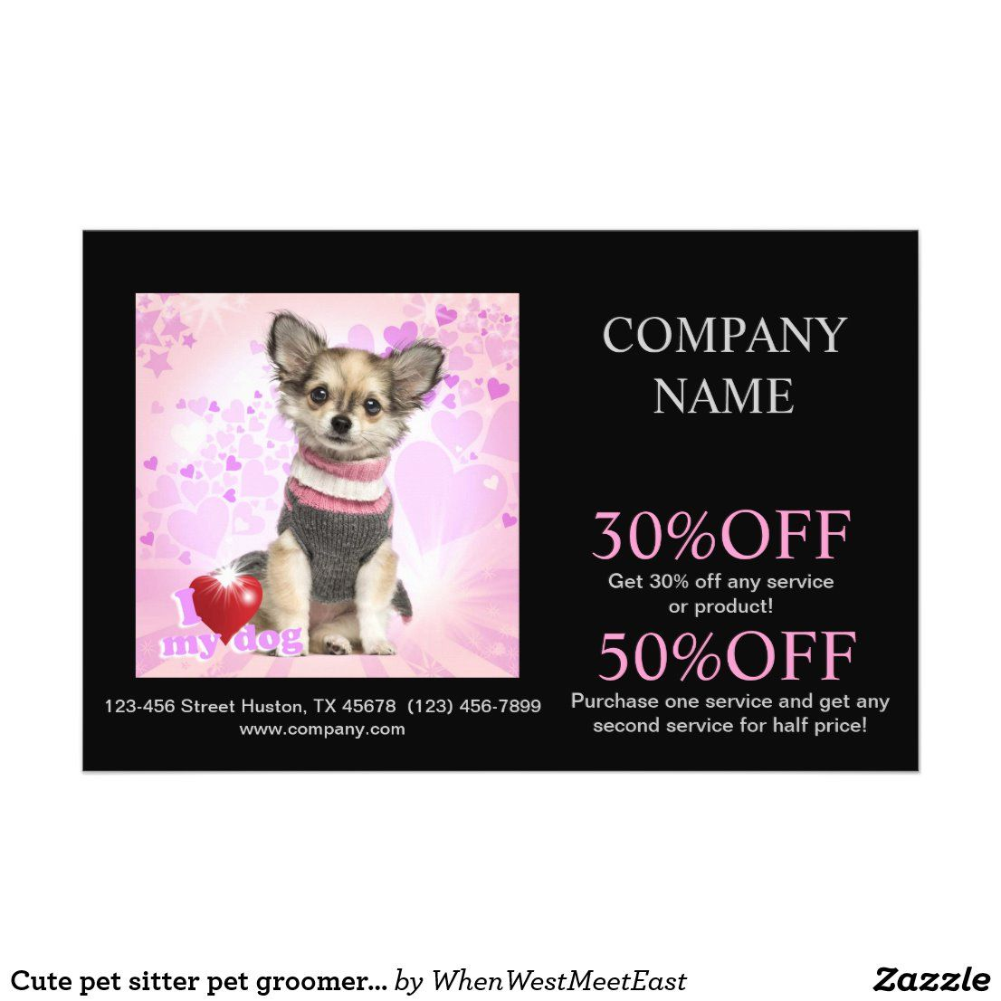 Cute Pet Sitter Pet Groomer Dog Daycare Flyer Zazzle Com In 2020 Pet Sitters Pet Groomers Dog Daycare