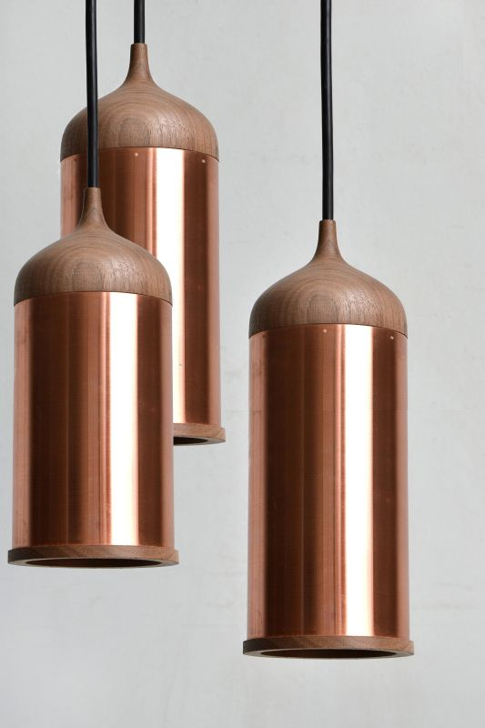Copper pendant lamp iluminacin cobre y luces copper and wood pendant lights by steven banken the walnut top fits neatly onto the aloadofball Choice Image