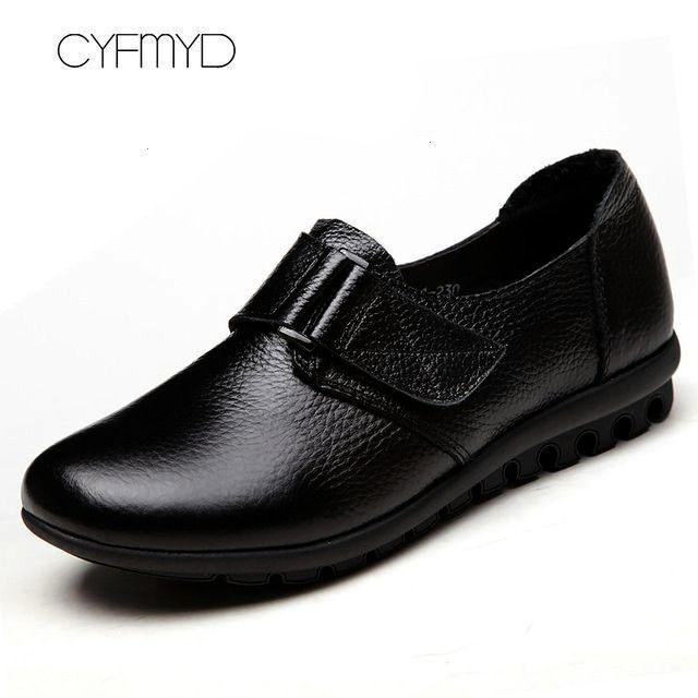 Leather Women Flat Shoes Comfortable SpringAutumn Oxfords Hook Loop Ladies Leather Shoe Large Size 3543 Color Black Shoe Size 45 Genuine Leather Women Flat Shoes Comforta...