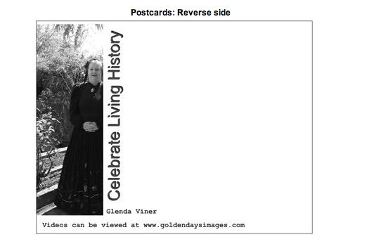 Back of Glenda Viner postcard