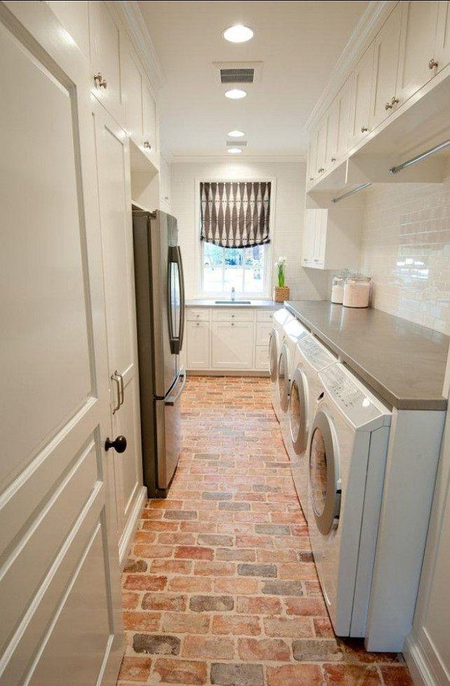 Cobblestone Linoleum In Pantry Like Walking Thru Farmers Market Stylish Laundry Room Laundry Mud Room Brick Flooring