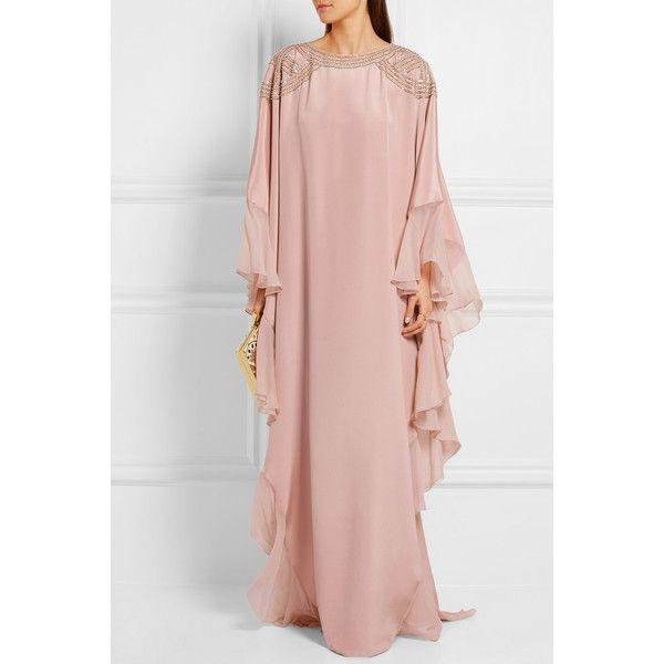 Oscar de la Renta Embellished georgette-trimmed silk crepe de chine... (19,615 PEN) via Polyvore featuring dresses, gowns, oscar de la renta gowns, summer evening dresses, silk gown, sequin gown y sequin evening dresses