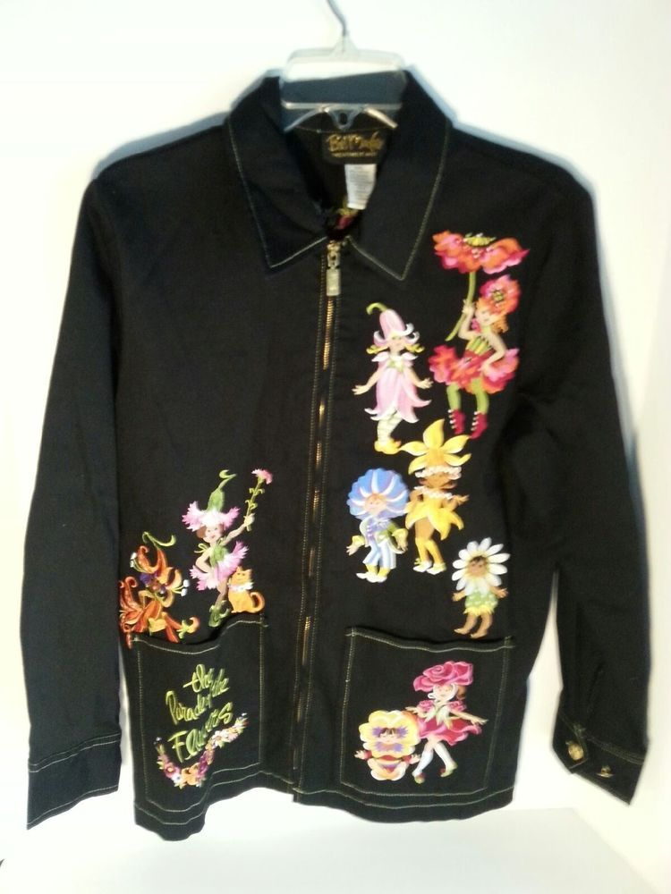 05228ea8ba241 Bob Mackie Wearable Art Jacket Coat Embroidered Parade of Flowers Fairies  Size M  BobMackie  BasicJacket