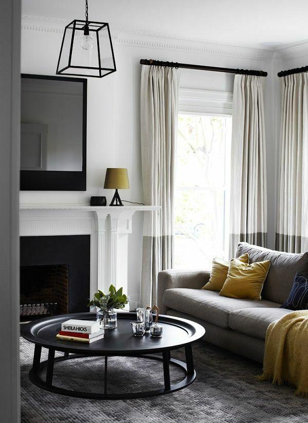 runder couchtisch wohnzimmer sofa und kamin Living Room - gardinen wohnzimmer grau