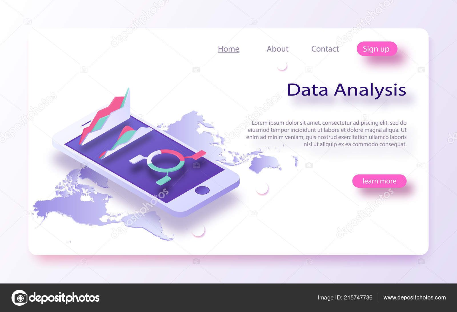 Download - Business Data Charts Incoming Information Isometric Data
