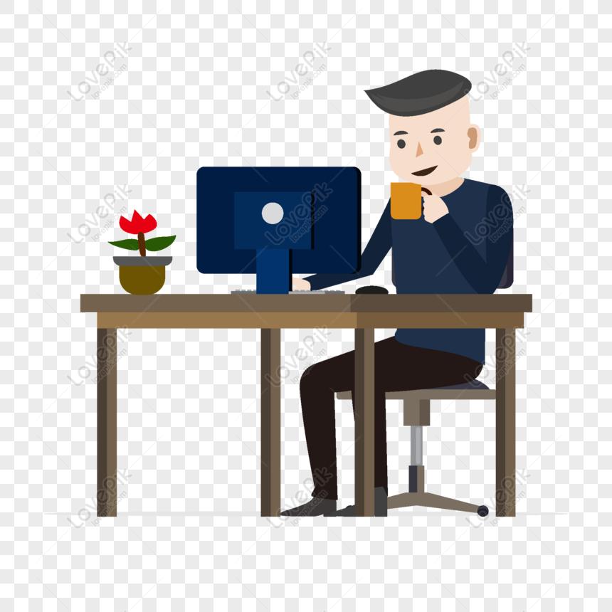 Dibujos Animados Chico Casual Tomando Cafe Mirando Los Elementos Cartoon Boy Cartoon Coffee Drinks