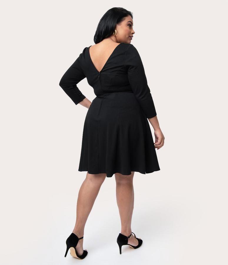 628efbbe323 Plus Size Black Knit Tie Waist Bettie Fit   Flare Dress in 2019 ...