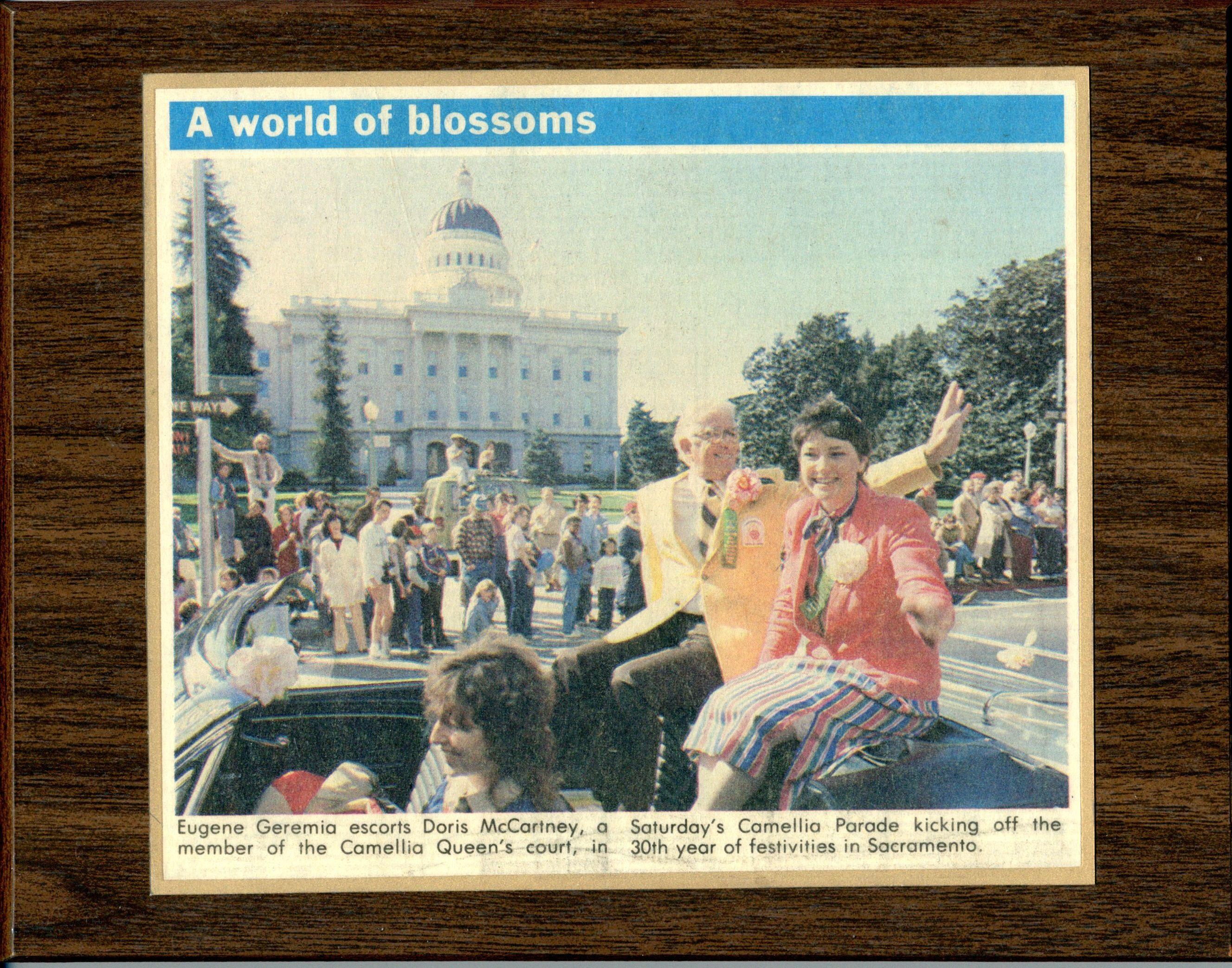 A photo from the camelia parade in sacramento 1985