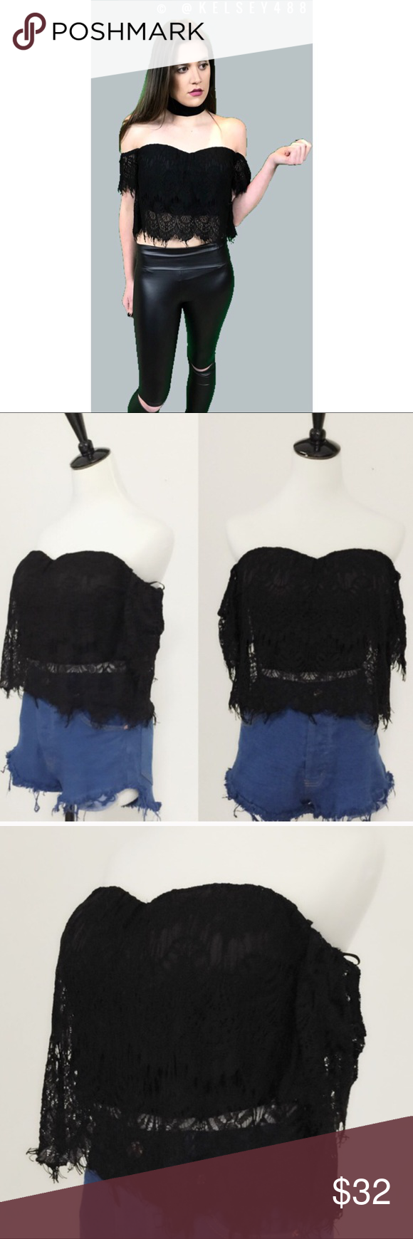 Lace Crop Top Lace detail crop top with lace detail and perfect elastic c internal Bralette built in. True to size made in the USA. Color: black UNEDITED BOUTIQUE Tops Crop Tops