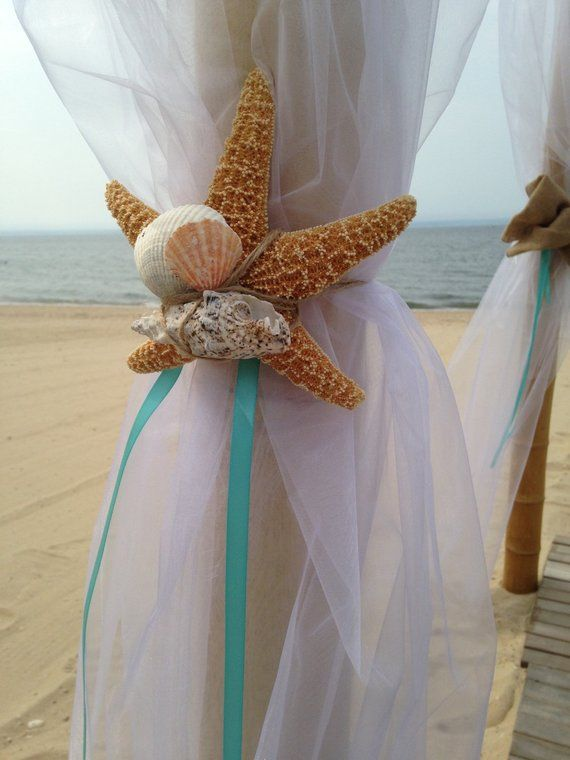 Pagoda Decoration Starfish Tie Backs Wedding Beach Wedding