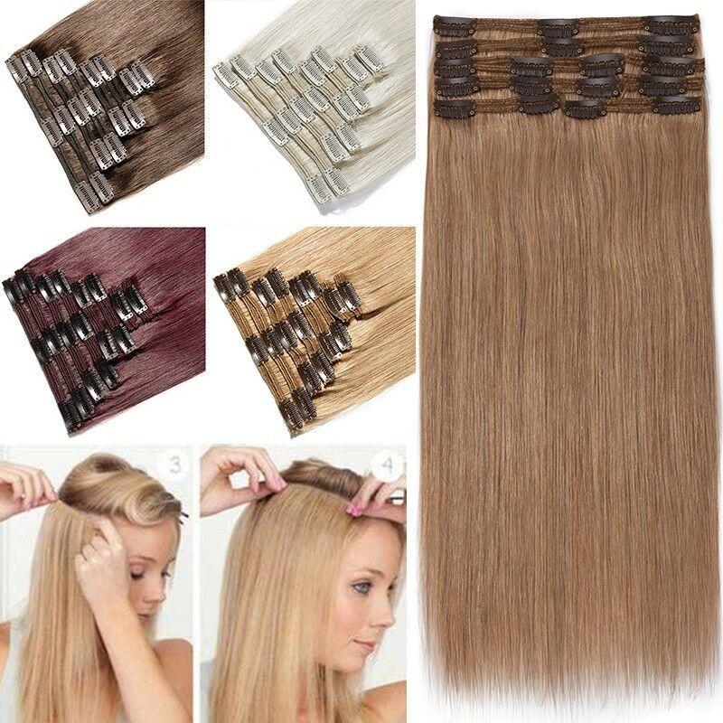Haarverlã¤Ngerung Frisuren   Volle Kopf 8 Stucke Clip In Menschliches Haarverlangerung Echthaar
