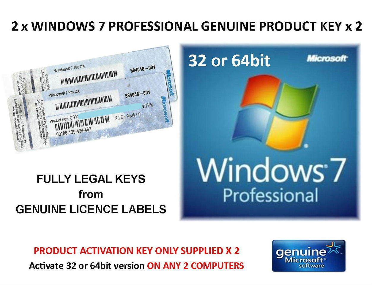 2 X Windows 7 Professional 32 Or 64bit Product Key Only Activate On Line With Images Microsoft Software Activated Professional