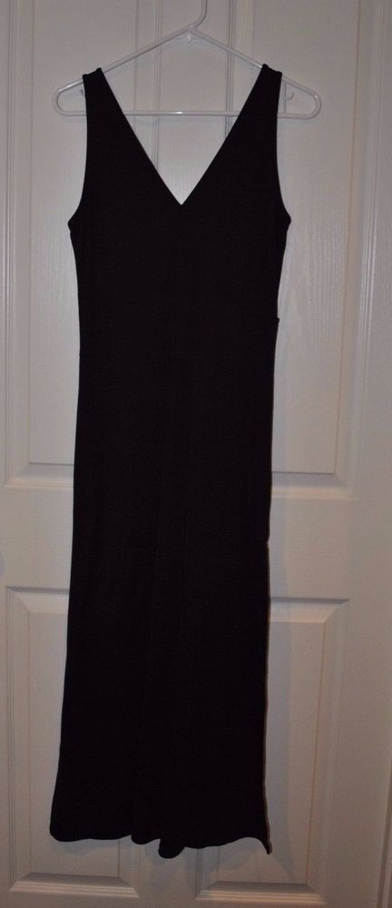 Victoria Secret Black Elegant Ribbed Stretch Knit Sexy Sheath Nightgown Size M #VictoriasSecret #Gowns #Everyday