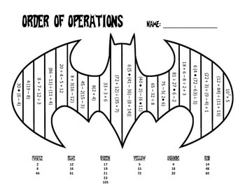 Order Of Operations Coloring Sheet Order Of Operations Math Coloring Worksheets Basic Math Worksheets