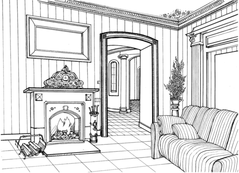 Fireplace Room coloring page from Interior Design category