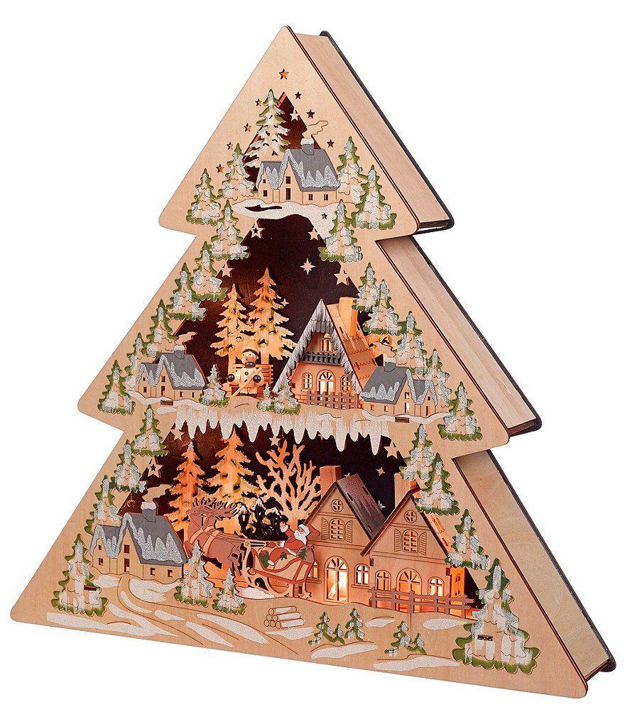 Nordic Christmas Village Wooden Lit LED Church House 70cm Lights Decoration