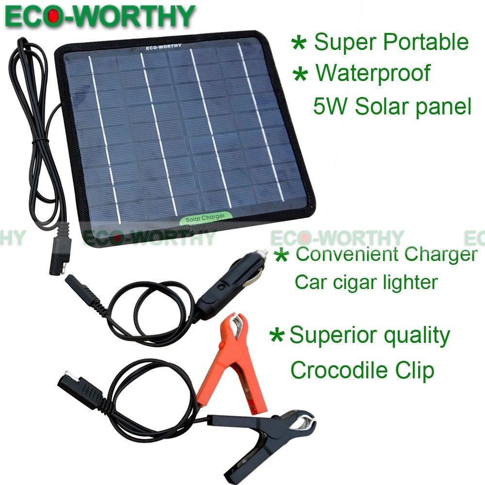 Eco Portable 5w 12v Solar Panel Kit For Car Starter Battery Charge Diy Mini 5w Solar Panels Solar Power Panels Solar