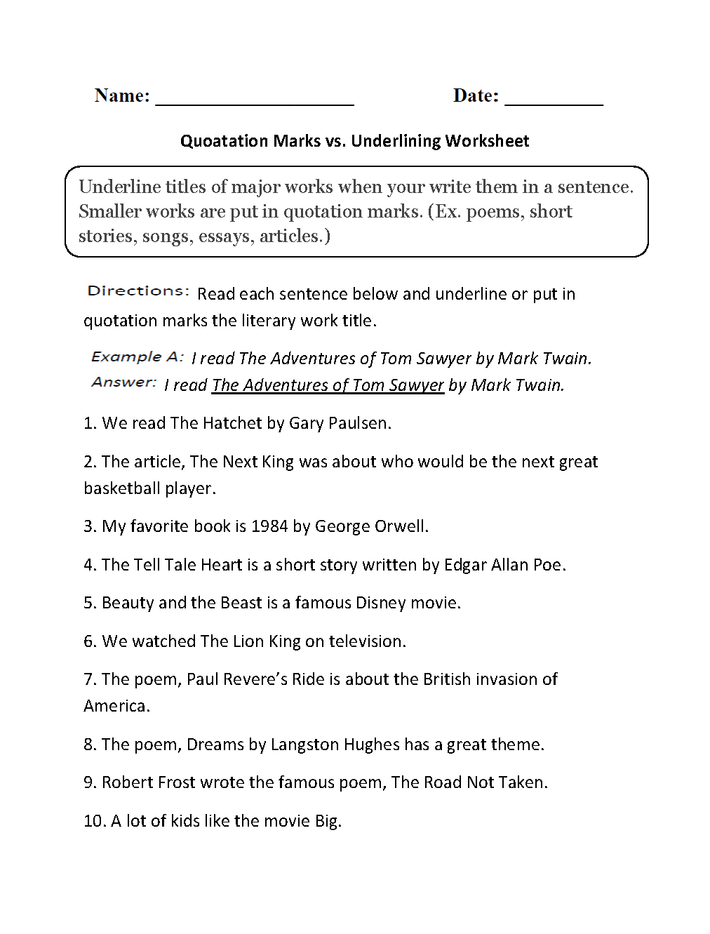 Quotation Marks Vs Underlining Worksheets  Grammar