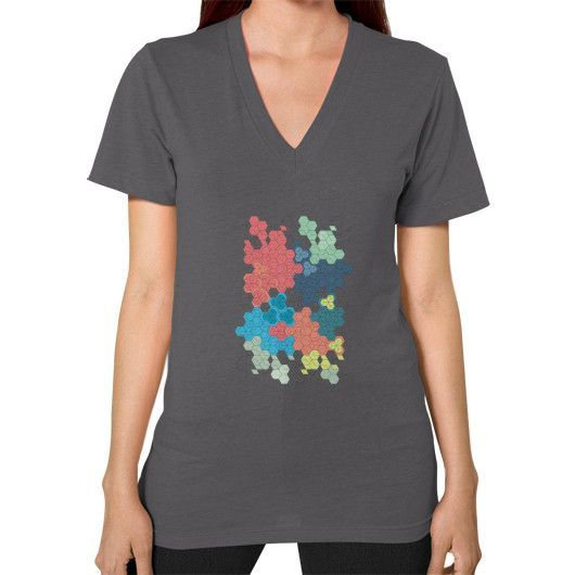 Geometric colored hexagon cluster art V-Neck (on woman)