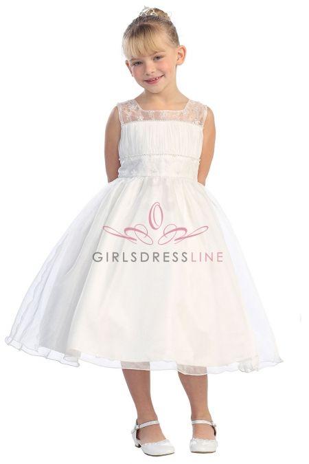 Ivory Organza Sleeveless Flower Girl Dress with Gorgeous Embroidery Accent TT-5593-IV on www.GirlsDressLine.Com