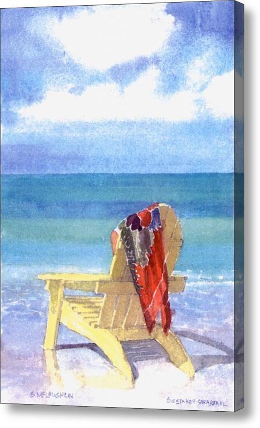 Beach Chair Acrylic Print By Shawn Mcloughlin Beach Watercolor