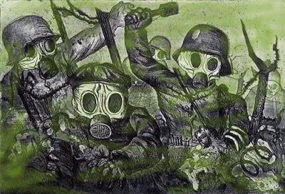 Otto Dix, Sturmtruppe geht unter Gas vor, 1924, Aquatinta, 35,3 x 47,5 cm, Deutsches Historisches Museum, Berlin.