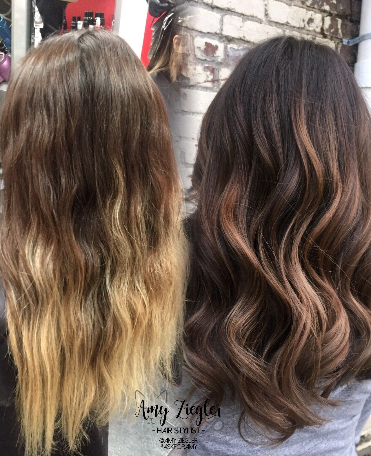 before & after blonde ombre to brunette caramel balayage