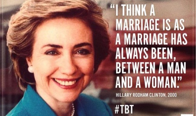 """Hillary Clinton said in 2000 that she believed marriage was """"always between a man and a woman."""""""
