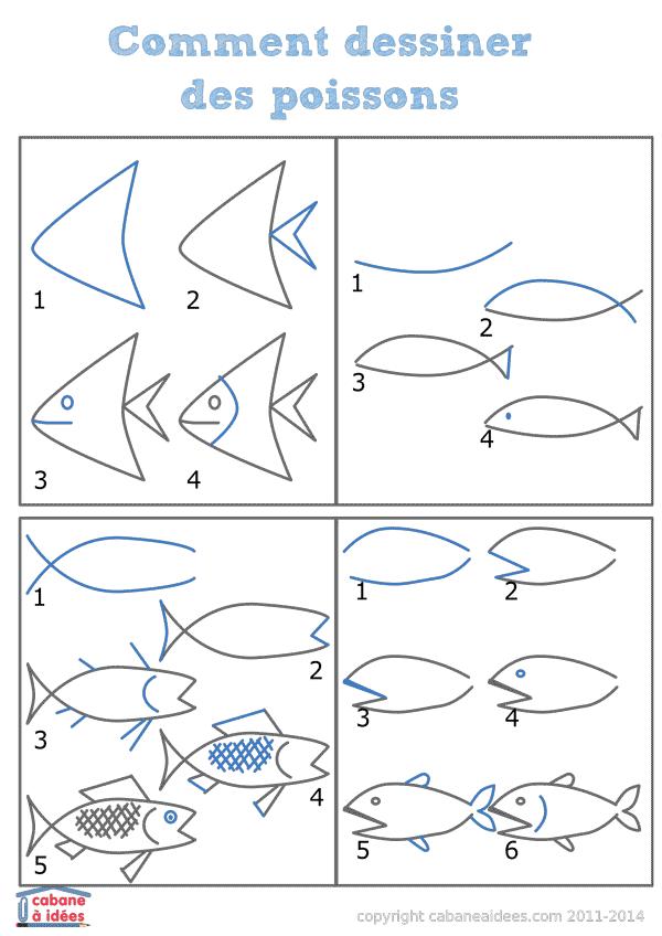 Comment dessiner des tas de poissons poissons dessiner et marins - Dessiner un poisson facilement ...