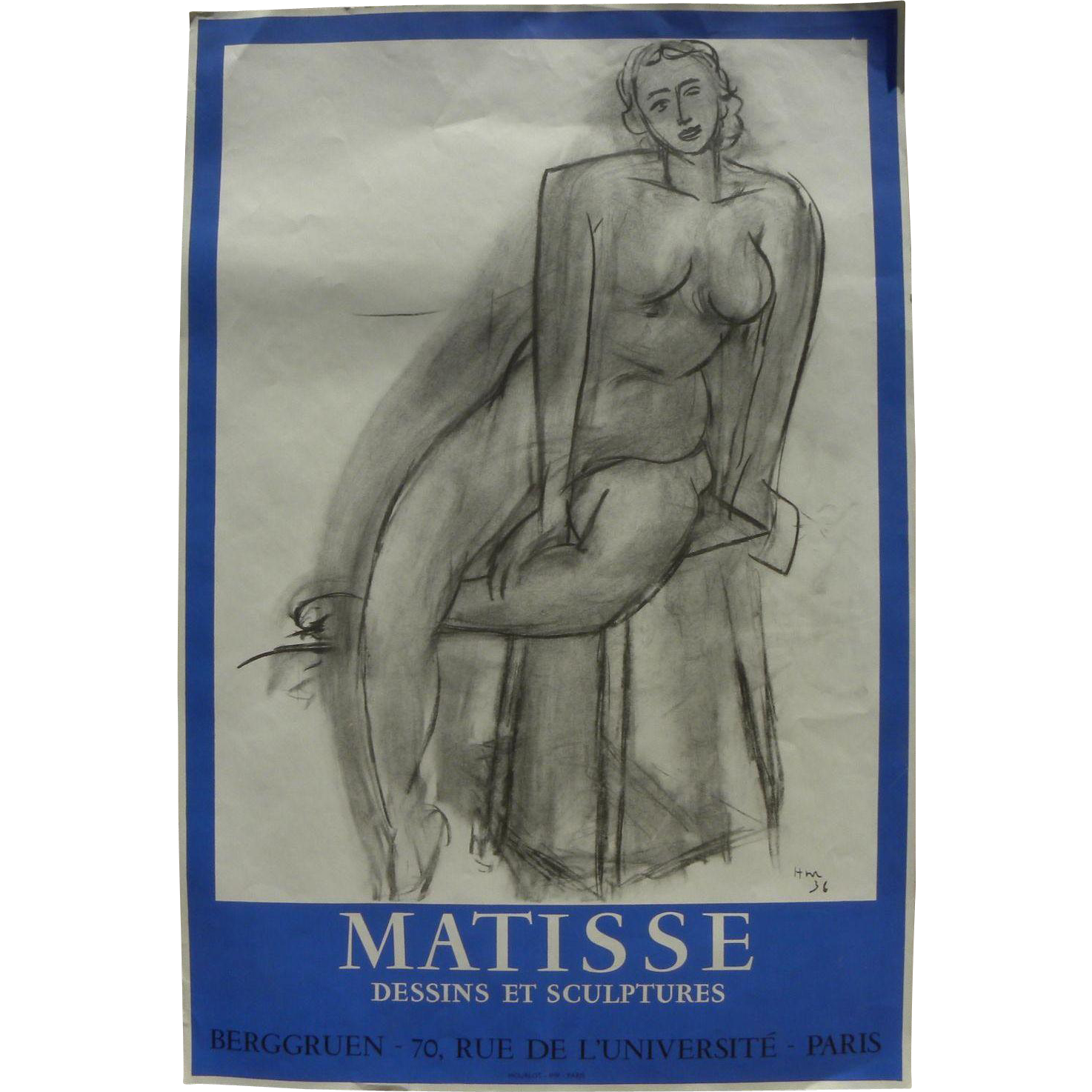 Original 1956 Mourlot-printed lithograph poster after a 1936 charcoal drawing by the famed French 20th century artist HENRI MATISSE (1869-1954),