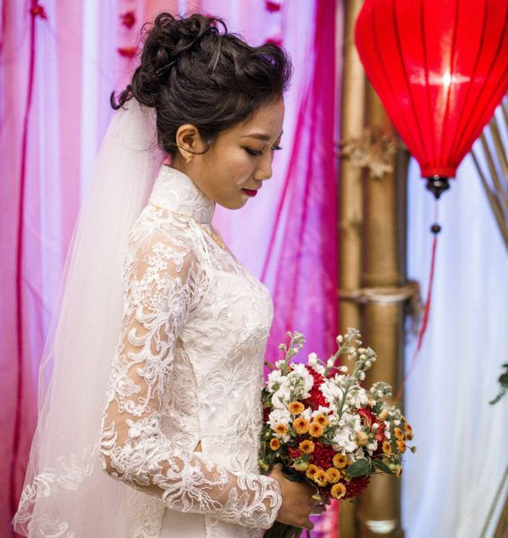 Asian wedding dress, lace wedding dress, asian dress, white dress ...