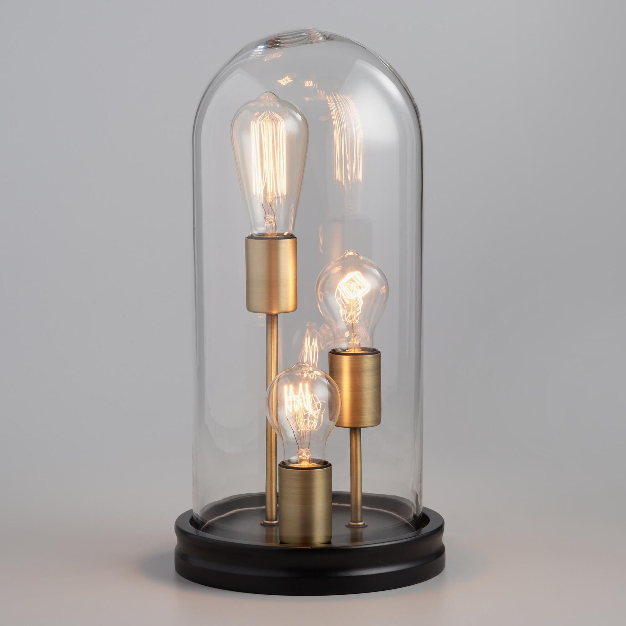 Glass Edison Lamp Glass Cloche 3 Edison Bulb Table Lamp By World Market In