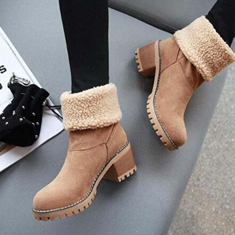 8a30b140740 Women Warm Skylar Fur Heel Square Heels Ankle Snow Boots/Booties ...